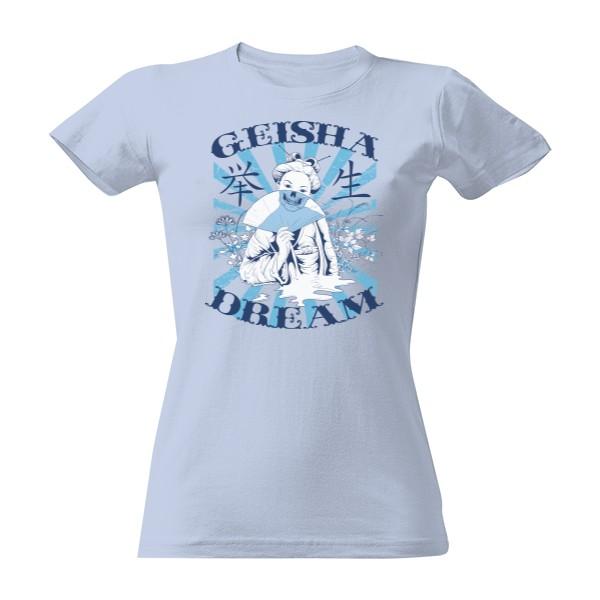 7e884b47eed2 Tričko s potlačou Geisha s vějířem